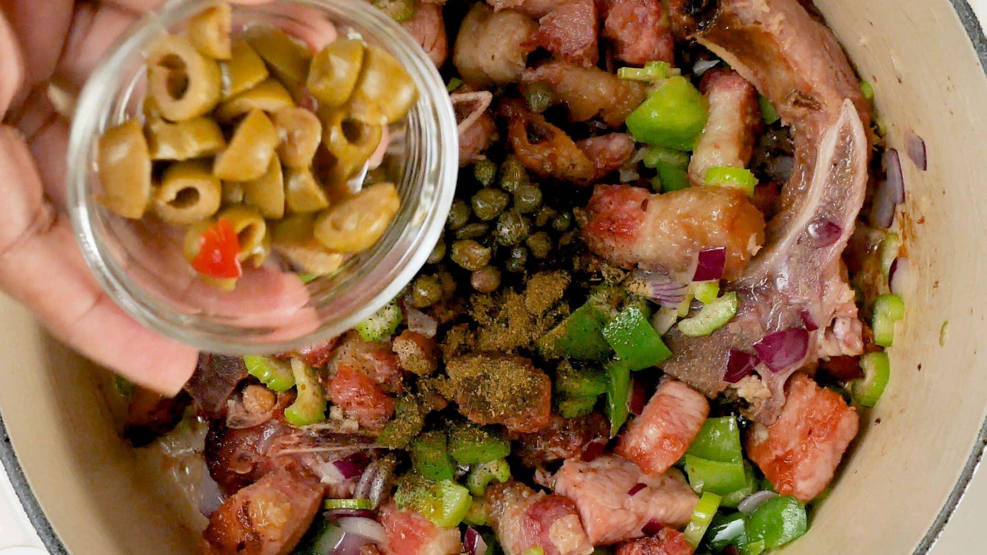 Adding the olives