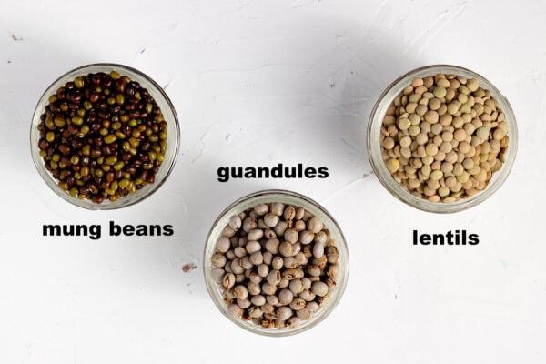 mung beans, guandules, lentils