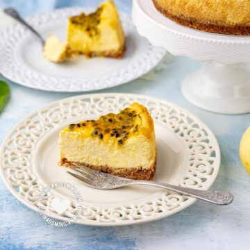 Passion Fruit Cheesecake and Fruits on Table