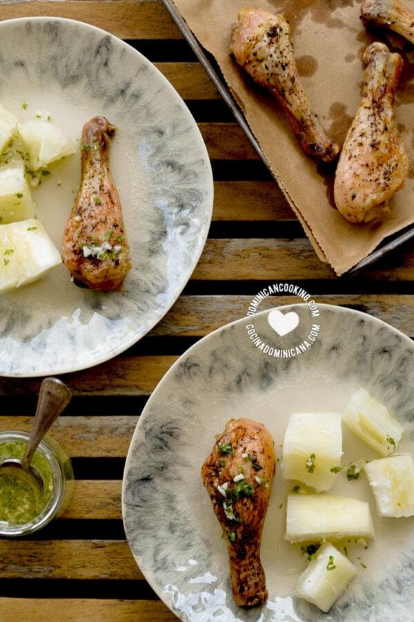 Pollo con Wasakaka (Roasted Chicken with Garlic Sauce) and boiled yuca