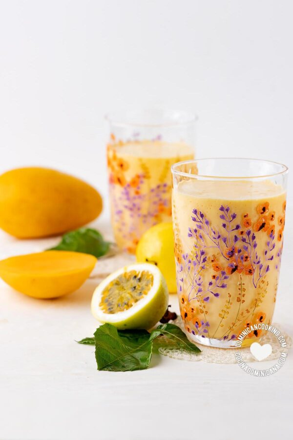 Mango and Passionfruit Smoothie and fruits