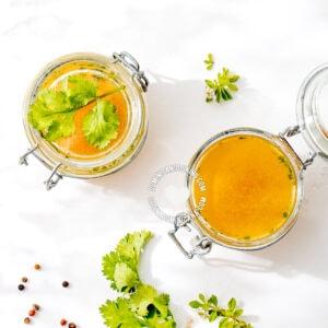 Vegetable broth in jars