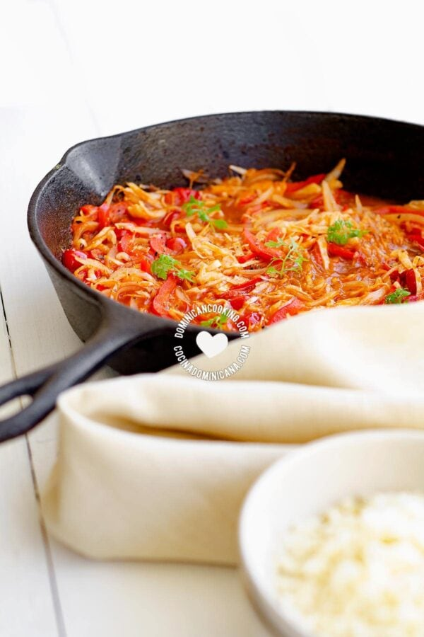 Skillet with Repollo Guisado (Stewed Cabbage)