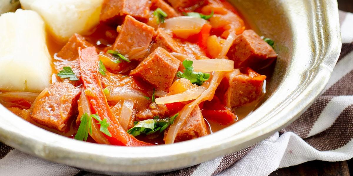 Dominican salami dish