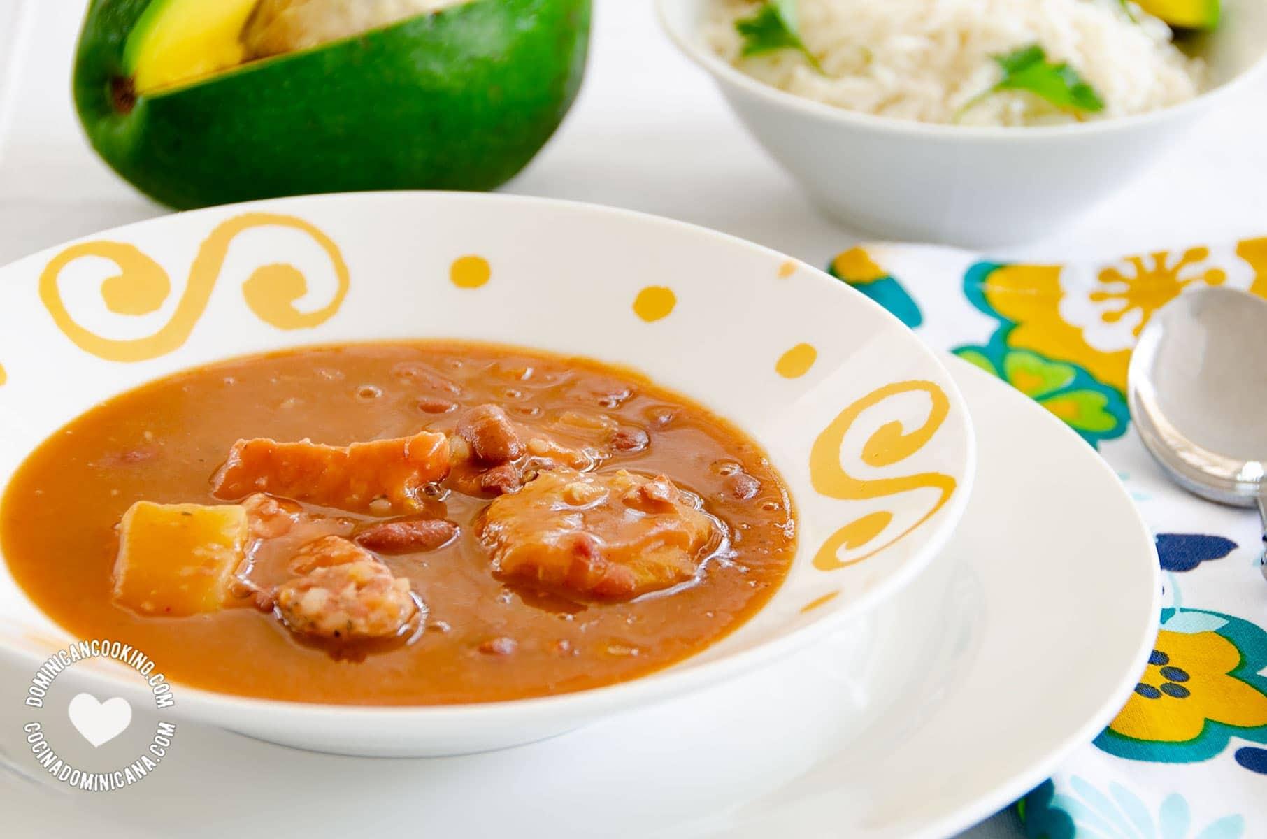 Sancocho de Habichuelas or Sopión or Zambumbio (Sweet & Spicy Bean Stew) Served with Rice and Avocado