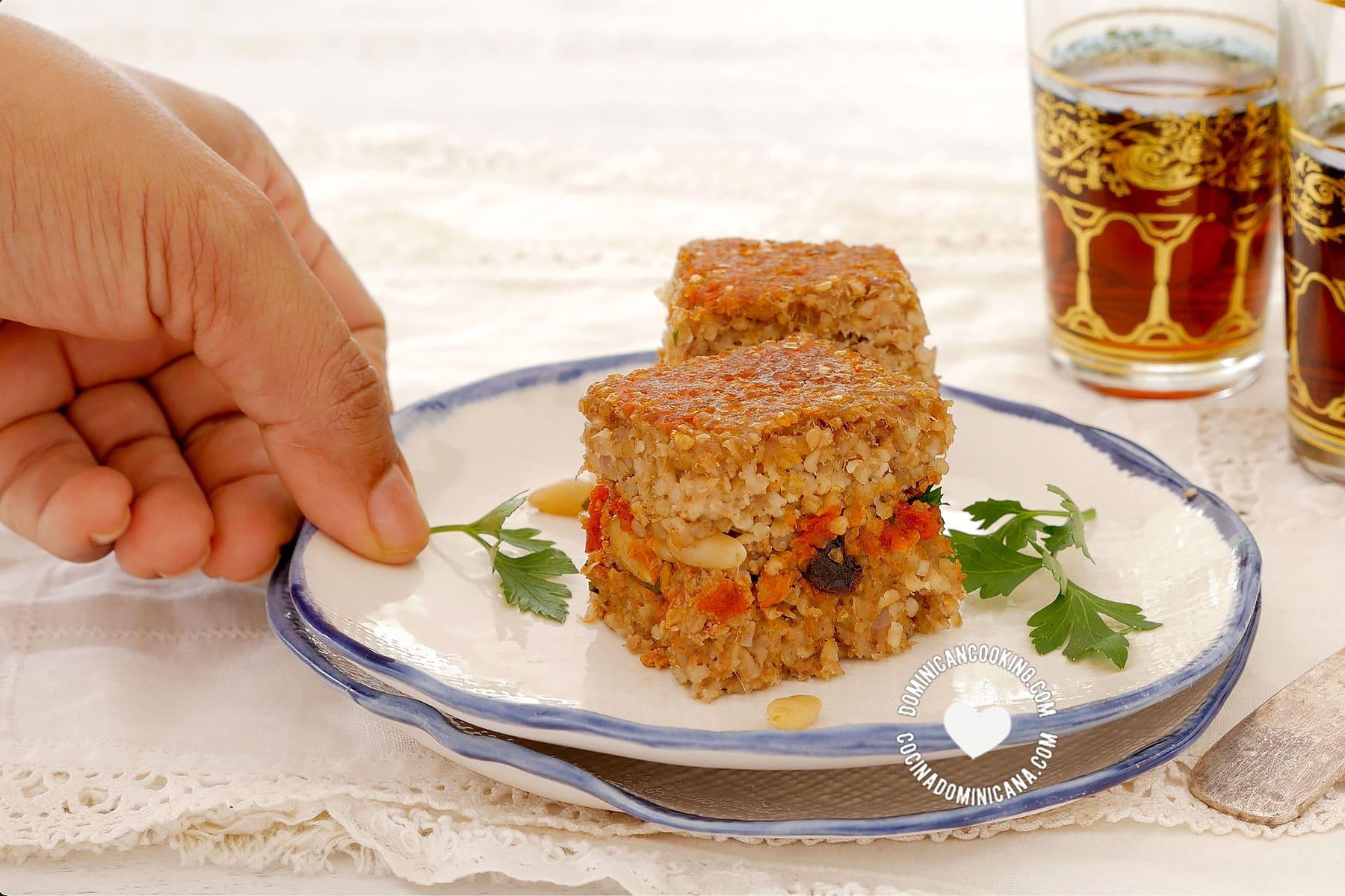 Serving baked kipe (kibbeh)