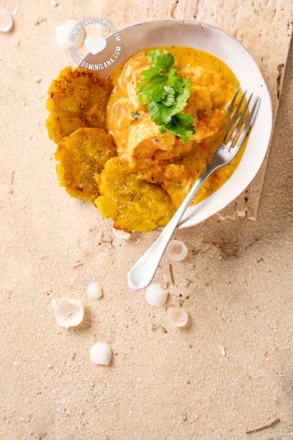 Shrimp with Coconut and Ginger Sauce with Tostones