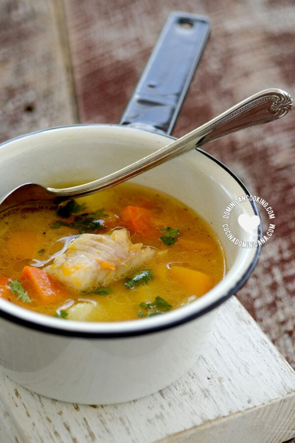 Small Pot with Sopa de Pescado (Fish Soup)