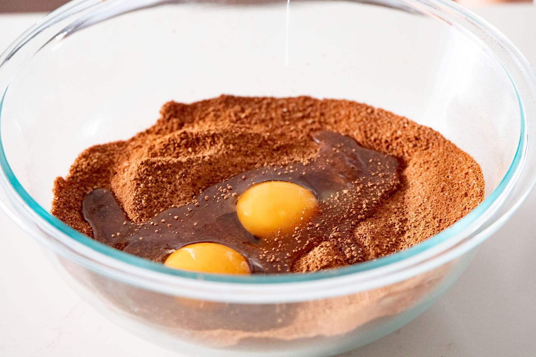 eggs added to dry ingredients