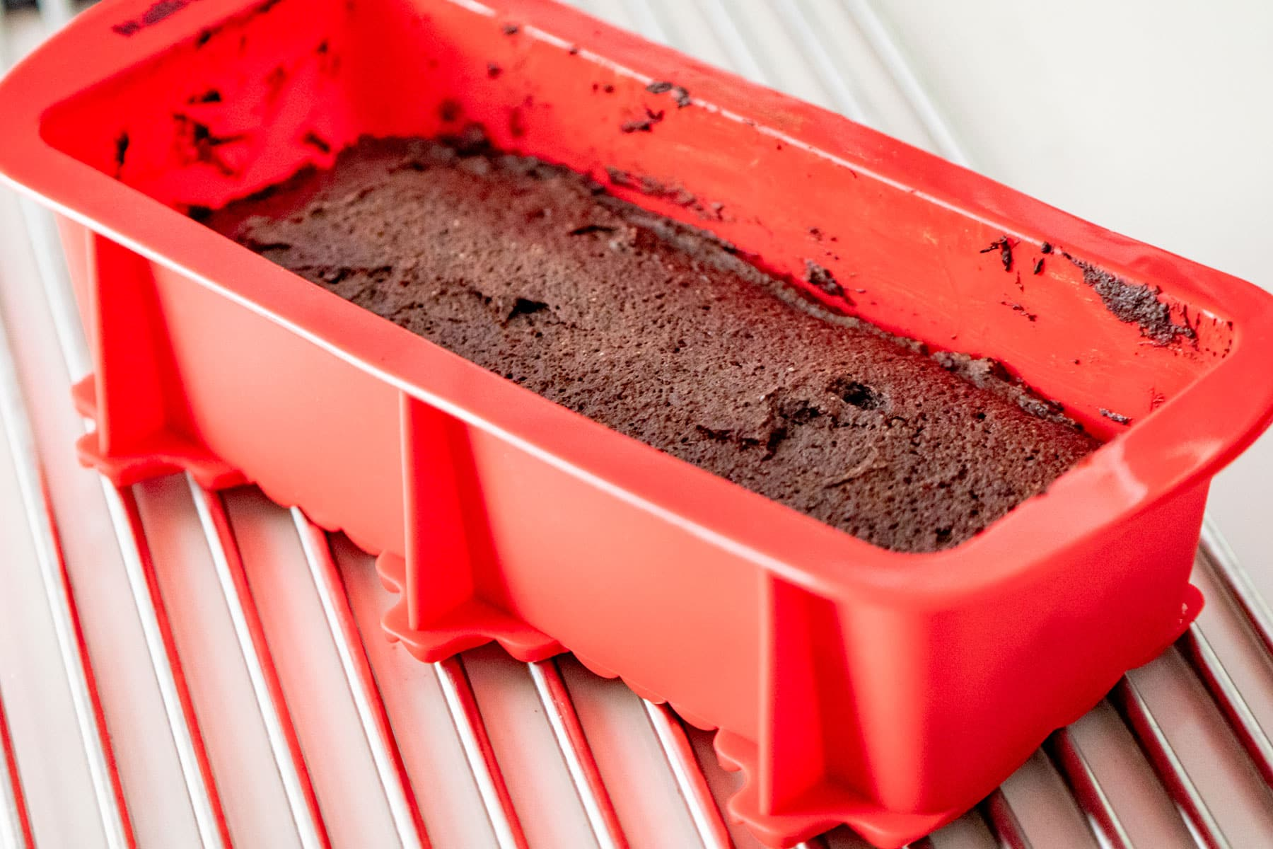 Cooling cake on rack.