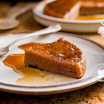 Slice of Cassava Flour (Tapioca) Pudding, More in the Background