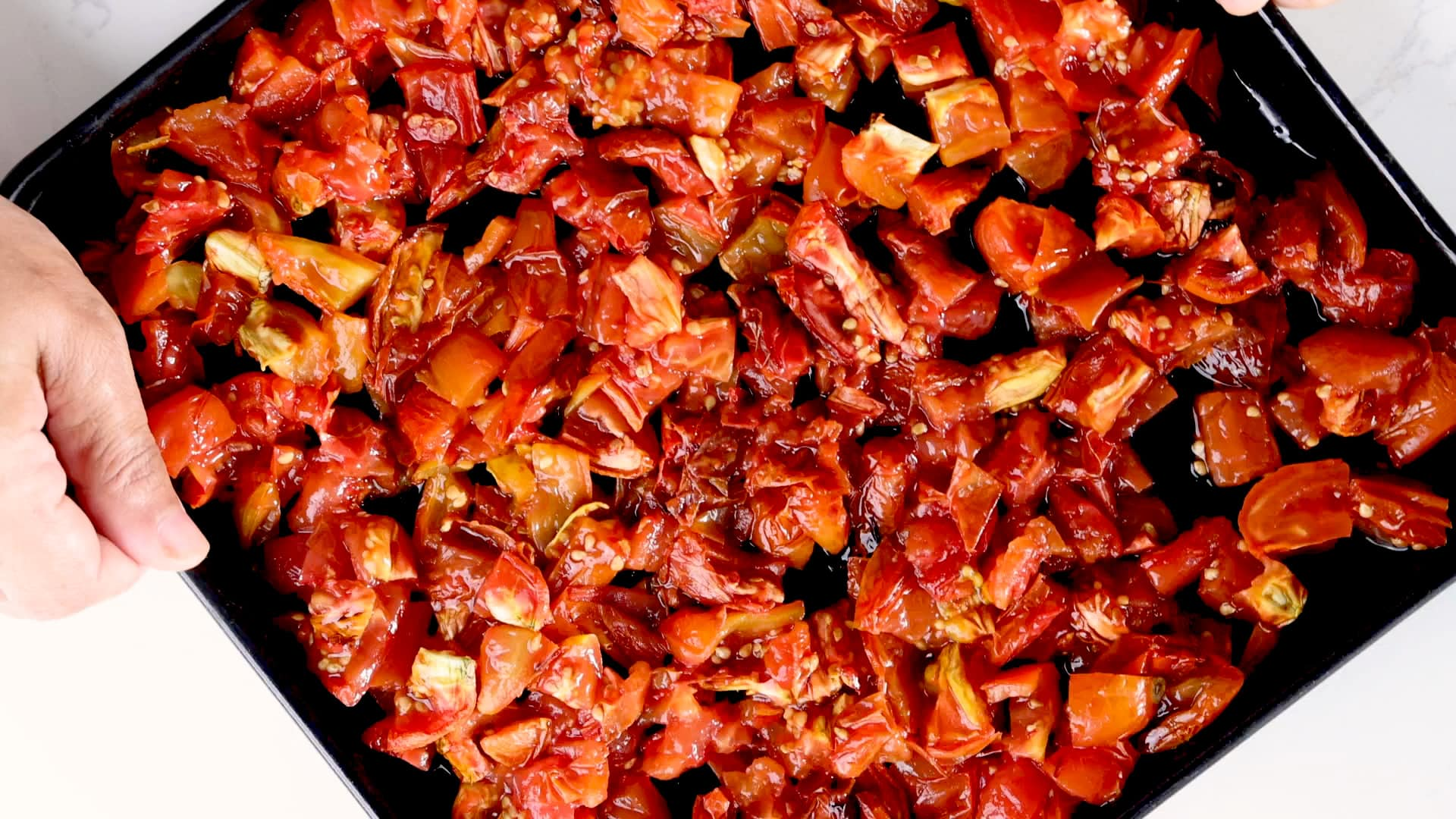 Roasted tomatoes on tray