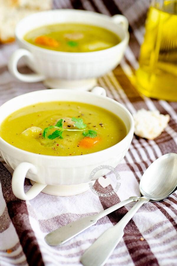 Bowls of Green Split Pea Soup