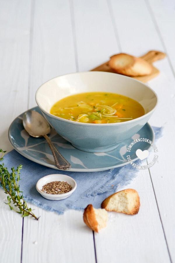 Bowl of Sopa Boba (Vegetable Soup)