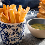 Yuca fries next to dip